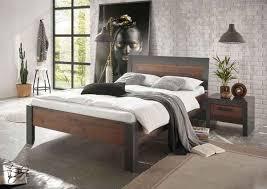 home affaire bettanlage set einzelbett mit holzkopfteil nachtkommode grau komplett schlafzimmer betten