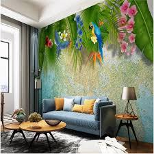 südost asiatischen stil tropical pflanzen blumen und vögel wandbild tapeten für wohnzimmer schlafzimmer helle farbe wand papier 3d