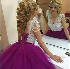 2017 latest style ball gown prom dress purple pearls princess