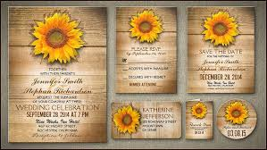 Rustic Wedding Invitation With Sunflower