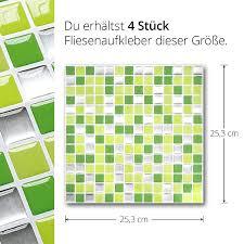 wandora 4 stück 25 3 x 25 3 cm fliesenaufkleber hellgrün