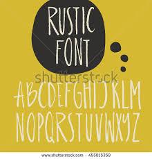 Rustic Font Unique Handdrawn Alphabet Latin Stock Vector 455015359