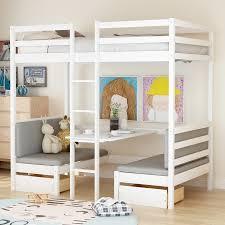 über kinder schlafzimmer möbel set etagen betten bett rahmen ladde schreibtisch zwei schubladen kopfteil fußteil für kinder weiß