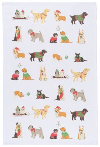 Now Designs Printed Kitchen Towel, Holiday Pups