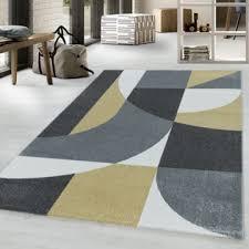 wohnzimmerteppich kurzflor teppich design zipcode muster abstrakt gelb