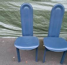 4 esszimmerstühle blau mit hoher lehne
