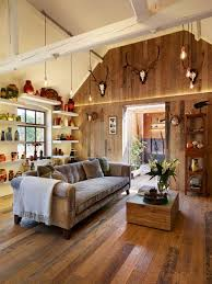 Medium Sized Rustic Open Plan Living Room In Wiltshire With Multi Coloured Walls