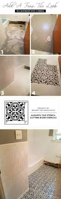 add a faux tile look to a bathroom with a stencil stencil