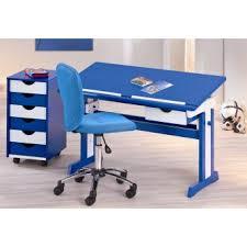 bureau enfant design pour enfant design blanc et bleu avec plateau relevable paco
