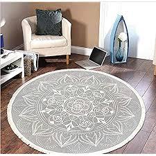pauwer runder teppiche handgewebte baumwolle teppiche mit quasten abwaschbar teppiche für wohnzimmer schlafzimmer kinderzimmer 120cm