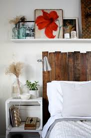Diy Pallet Headboard Ricedesigns The I Debated Cutting Top Of To Make It Straight But Since We Added Shelf Like Uneven