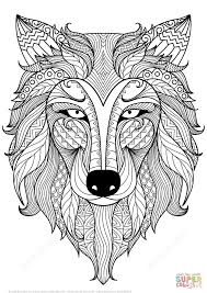 Click The Wolf Zentangle Coloring Pages To View Printable Version Or Color It Online Compatible