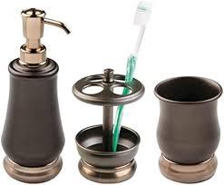 mdesign hochwertiges 3er set badaccessoires bad accessoires set bestehend aus seifenspender zahnbürstenhalter und zahnputzbecher badezimmer set