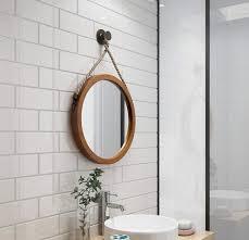 mirror zwd hanf seil runder spiegel hölzerne suspendierung