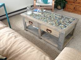 barnwood elk tile top coffee table with nailheads thippo