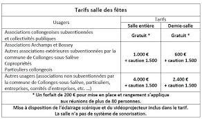tarif salle des fetes tarifs location salle des fetes mairie de collonges sous salève