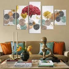 gerahmte 5 stück rot gold baum malerei auf leinwand druckt luxus dekorative poster für wohnzimmer home decor wand kunst