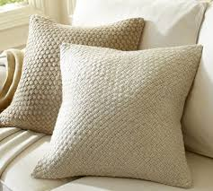 Textured And Natural Pillows For Sofas Woven Metallic Jute Pillow Cover