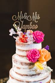 Rustic Naked Wedding Cake With Script Toppers