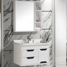 2018 White Solid Wood Bathroom Cabinet Simple Modern Bathroom Vanity
