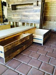 diy pallet bed with headboard and lights