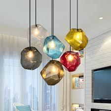 großhandel einfache steinglas pendelleuchte bunte indoor g4 led le das restaurant esszimmer bar cafe shop beleuchtung leuchte ac110 265