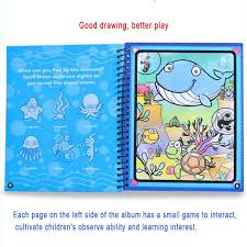 Aliexpress Buy Drawing Toys Book Water Painting Theme Doodle Album Cartoon Paint Learning Coloring Notebook Recyclable Cardboard Refillable Pen From