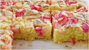 rhabarber blechkuchen mit vanillepudding einfach nur lecker