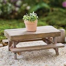 Wood Picnic Table For Miniature Fairy Gardens