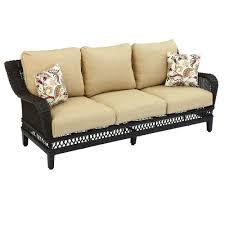 Hampton Bay Woodbury Wicker Outdoor Patio Sofa with Textured Sand