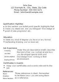 Resume Waitress Skills Examples Job Example Of A Sample Cover Letter For Samples Bartender