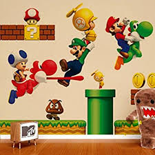 ZNU Super Mario Wall Decals Stickers DIY Removable Stick Baby Boys Girls Kids Room Nursery Wall
