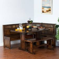Table Booth Comfy Corner Breakfast Nook Wood Dining Set Country Kitchen Seating Pertaining To