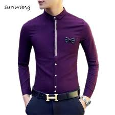 2017 New Fashion Bow Designer Purple Chinese Mens Casual Shirts Wedding Dress Slim Fit Shirt Men Long Sleeve M 2XL In From