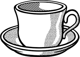 500x357 Vector drawing of wavy tea cup on saucer Public domain vectors