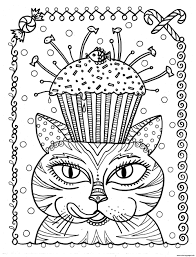 Adult Cat Cup Cake By Deborah Muller Coloring Pages Printable