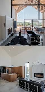 Glas Kamin Beton Holz Decke Boden Wände Interior