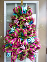 Deco Mesh Christmas Tree Shaped Door Wreath Pink Turquoise