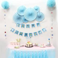 Blue Birthday Party Paper Decoration Kit Banner Tassel Garland Fan Rosettes Honeycomb Balls Star