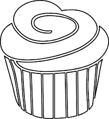Cupcake outline a strawberry cupcake with black white outline frosting on top