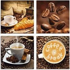 artland glasbilder wandbild glas bild set 4 teilig je 20x20 cm quadratisch kaffee cafe coffee kaffeetasse croissant kaffeebohnen frühstück s6bs