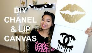 DIY Room Inspiration Chanel Gold Lips Canvas Tutorial
