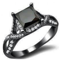2 40ct Black Princess Cut Diamond Engagement Ring 18k Black Gold