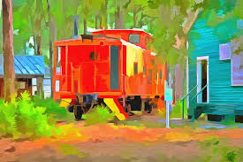 caboose l caboose painting by l wright