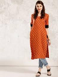 anouk rust orange u0026 white printed a line kurta women u0027s kurti