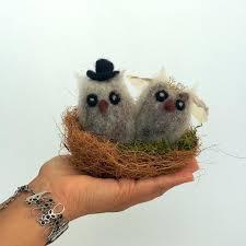 Owl Wedding Cake Topper Felt Animals Nest Couple Lovebird Rustic Birds In Love Groom And Bride Pair