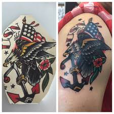 American Traditional Tattoo Ogf Sailor Jerry Eagle