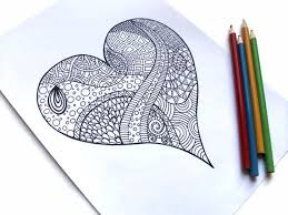 Valentines Printable Coloring Page Zentangle Inspired PDF 1 Zendoodle Heart
