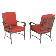 Hampton Bay Oak Cliff Stationary Metal Outdoor Dining Chair with