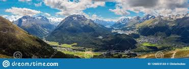 100 Muottas Muragl Panaromic View From Engadin Switzerland Stock Image